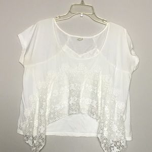 Free People cotton and lace t-shirt